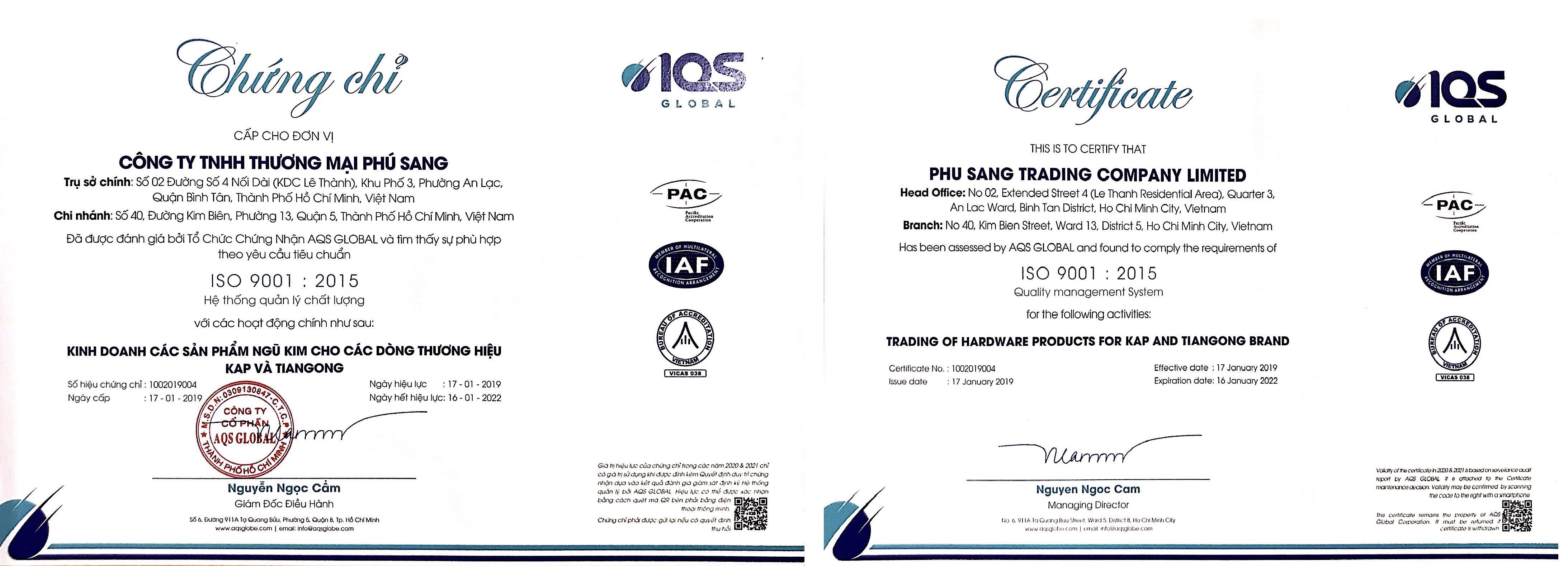 HỆ THỐNG QUẢN LÝ CHẤT LƯỢNG ISO 9001:2015